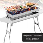 YI-HOME-Floor-Type-Barbecue-Grill-Folding-BBQ-Stainless-Steel-Outdoor-Charcoal-Garden-Home-Travel-Silver-73Cm71Cm-0-0