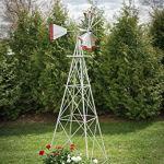 10-Ft-Premium-Aluminum-Decorative-Garden-Windmill-Red-Trim-0