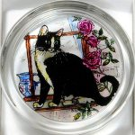 Decorative-Hand-Painted-Stained-Glass-Paperweight-in-a-Black-and-White-Cat-Design-0