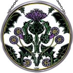 Decorative-Hand-Painted-Stained-Glass-Window-8-size-Sun-CatcherRoundel-in-a-Thistle-Nouveau-Design-0