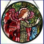 Decorative-Hand-Painted-Stained-Glass-Window-Sun-CatcherRoundel-in-an-Angel-Gabriel-Design-0