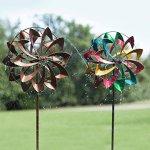 Hydro-Flower-Blossom-Garden-Wind-Spinner-and-Water-Sprinkler-Decorative-Garden-Sculpture-24-Dia-x-10-W-x-77-H-0