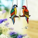 Makenier-Tiffany-Style-Stained-Glass-Red-and-Blue-Parrots-Window-Hanging-Sun-Catcher-0-1