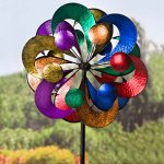 Plow-Hearth-Outdoor-4-Tier-Metal-Garden-Wind-Spinner-Sculpture-2-ft-Diam-x-7-ft-Tall-0