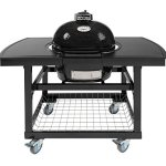 Primo-Oval-JR-200-Ceramic-Smoker-Grill-On-Cart-with-2-Piece-Island-Top-0