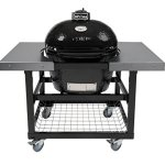 Primo-Oval-LG-300-Ceramic-Smoker-Grill-On-Cart-with-2-Piece-SS-Side-Tables-0