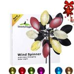 Solar-Wind-Spinner-7-Foot-Tricolor-Multi-Color-LED-Lighting-by-Solar-Powered-Glass-Ball-Perfect-Gardening-Gift-Amongst-Wind-Spinners-and-Windmills-Yard-Art-with-Kinetic-Dual-Direction-Spinning-0