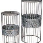 Sullivans-Bird-Design-Pedestal-Metal-Gray-Garden-Equipment-Set-of-2-0