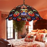 Tiffany-Pendant-Light-with-2-Light-in-Artistic-Patterned-Shade-0-0