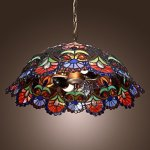 Tiffany-Pendant-Light-with-2-Light-in-Artistic-Patterned-Shade-0-2
