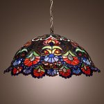 Tiffany-Pendant-Light-with-2-Light-in-Artistic-Patterned-Shade-0