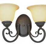 Two-Light-Antique-Bronze-Crushed-Stone-Glass-Wall-Light-0