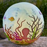 Wind-Weather-LED-Lighted-Octopus-Globe-Outdoor-Tropical-Yard-Garden-Decor-Resin-Construction-Sculpted-3D-Detail-95-Dia-0