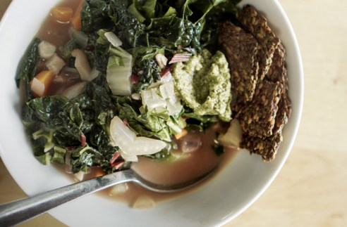 Morning tradition Vegetable soup with homemade bone broth