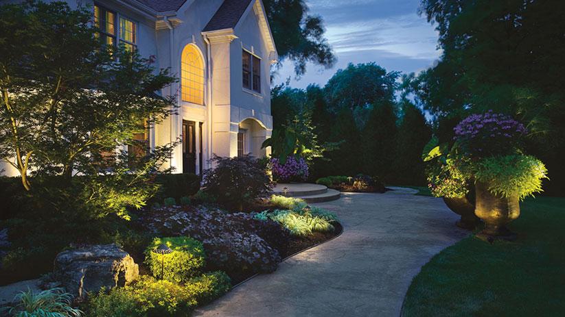 landscape lighting green leaf sprinklers