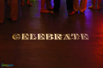 Custom gobo monogram at 415 Westlake by GreenLight Events