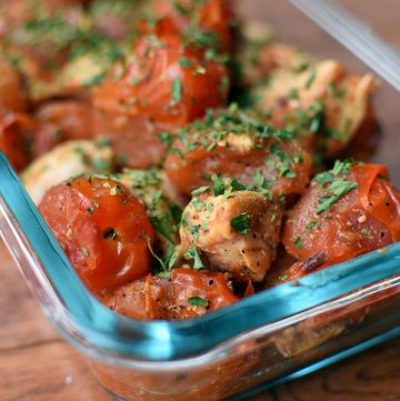 Chicken Chunks with Smashed Tomatoes