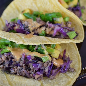 Moo Shu Pork Tacos with Pineapple Salsa
