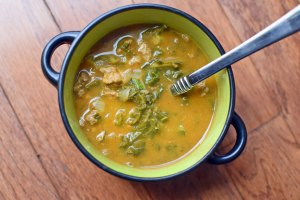Pumpkin Soup with Turkey and Kale