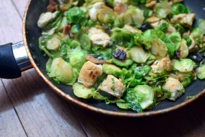 Single-Serve Chicken and Brussels Sprouts Skillet
