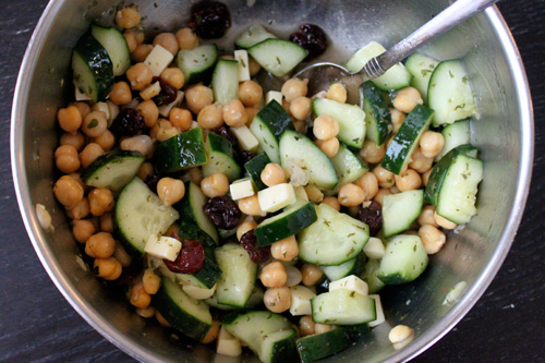 Chickpea and Cucumber Salad with Dried Cherries and Cheese