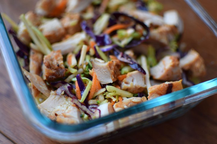Rainbow Salad with Chicken and Maple Cayenne Vinaigrette