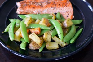 Roasted Potatoes and Snap Peas with Garlic and Lemon on Plate