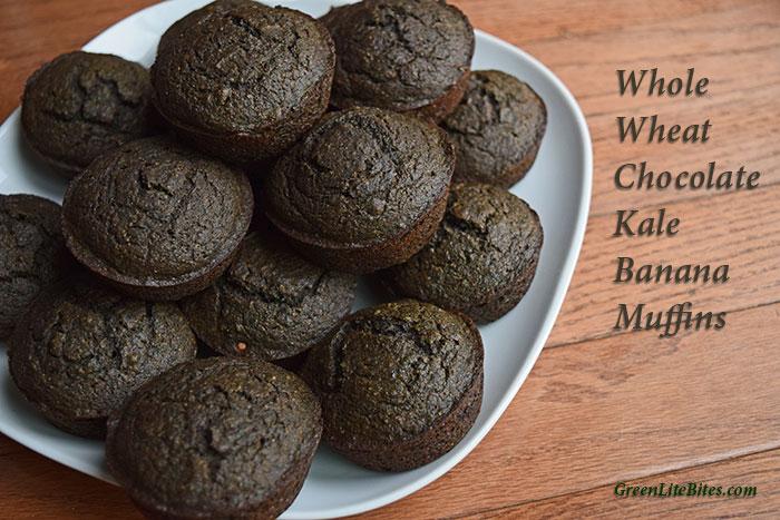 Whole Wheat Chocolate-Kale Banana Muffins