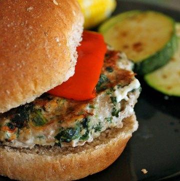 Spinach Feta Turkey Burgers Portrait