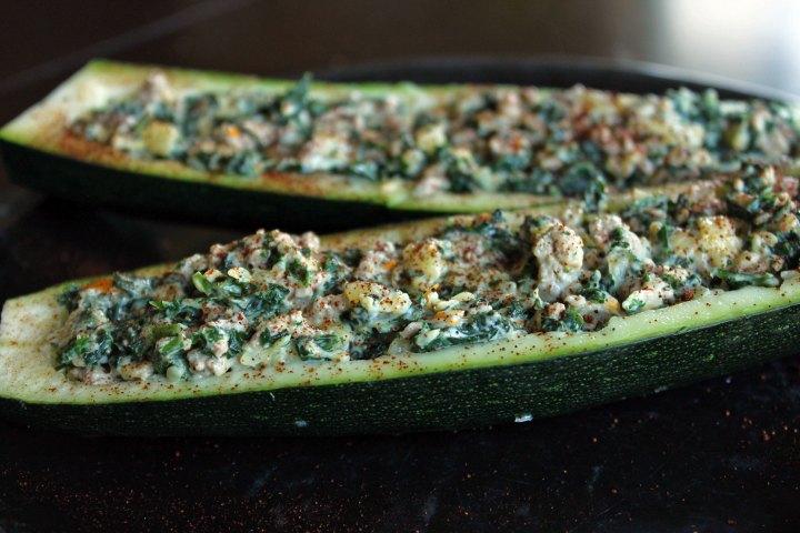 Cheesy Kale and Turkey stuffed Zucchini Boats