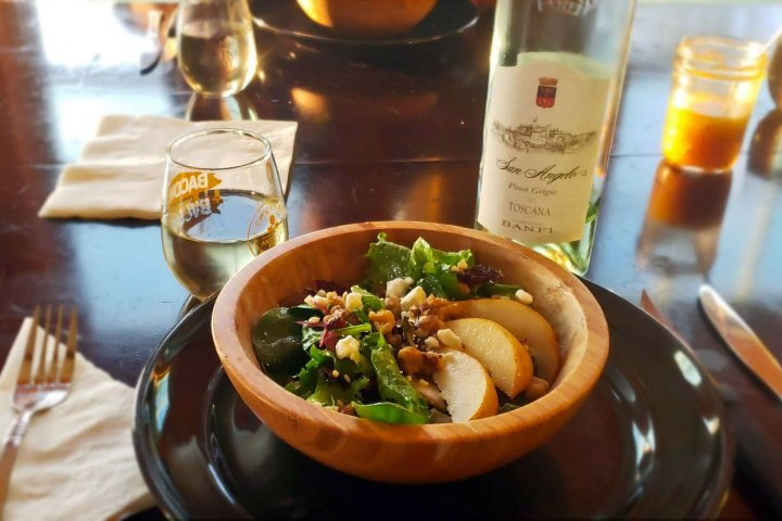 salad with pear and maple dijon dressing and wine!