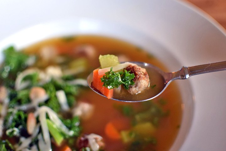 Spoonful of Meatball and White Bean Soup with Kale