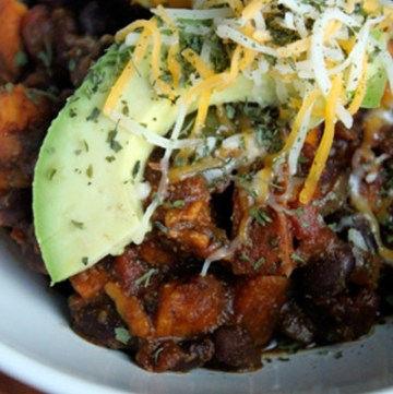 Spicy Sweet Potato and Black Bean Chili with Avocado - portrait