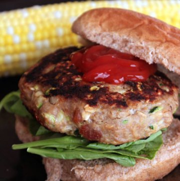 Bacon Cheese Inside-Out Turkey Burger - portrait