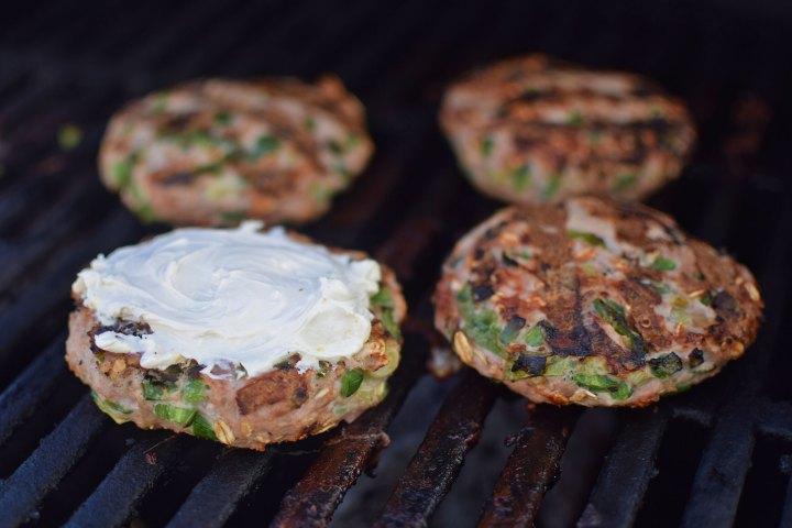 Jalapeño Popper Inspired Turkey Burgers - cooking