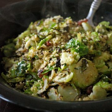 Warm Brussels Sprout and Couscous Salad