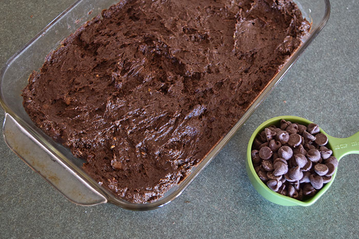 Healthy Brownies Made With Avocado and Dates! - Brownie Batter in Pan