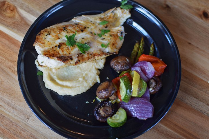 Orange Roughy over Parsnip Puree and a side of Summer Veggies