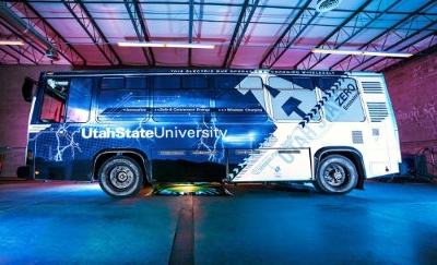 Utah State University has demonstrated a first-of-its-kind electric bus that is charged through wireless charging technology. The Aggie Bus, shown here in USU's Advanced Charging Bay, achieved several significant milestones. It is the first ...