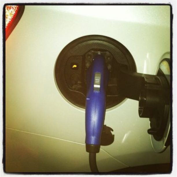 Picture charging the Prius Plug-in hybrid electric car for my wife