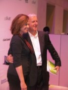 Sigourney Weaver and James Cameron holding my book Green Lighting
