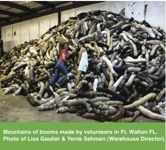 """A huge International Natural Fiber Recycling mobilization took place to help get hair boom to the Gulf Coast Spill. We had 19 donated warehouses spread along Alabama, Mississippi, Louisiana and Florida that received hair, fur, fleece & nylons from donors all over the U.S., Canada and 30 other countries! Thousands of volunteers signed up to have Stocking Stuffers and Bar B Q parties where they made the boom. Amanda Bacon in Alabama created the term """"Boom B Qs."""""""