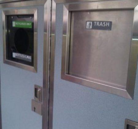 recycling bins on amtrak trains