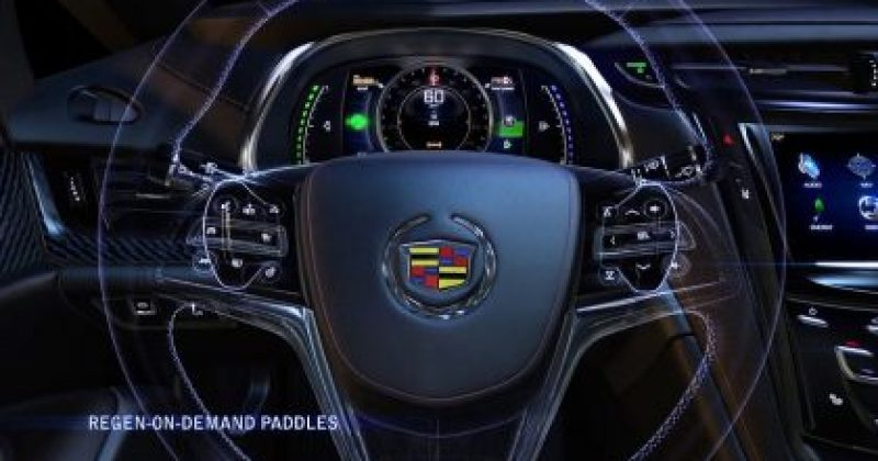 Cadillac ELR's paddle shifters enable the driver to temporarily regenerate energy and store it as electricity in the battery pack for later use. The ELR is Cadillac's first electric-powered vehicle and goes on sale in early 2014. Source: General Motors