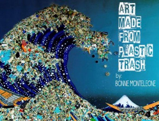 Marine Plastic ocean art made from Marine debris