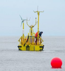 The Ocean Sentinel has been deployed off the Oregon Coast, one of the nation's first wave energy testing devices. (Photo by Pat Kight, Oregon Sea Grant)