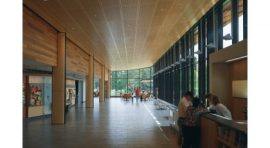 LEED, The Morton Arboretum Visitor Center features natural materials, including woods represented in the Arboretum's collections, gently weathering lead-coated copper, and local fieldstone salvaged from a predecessor building.