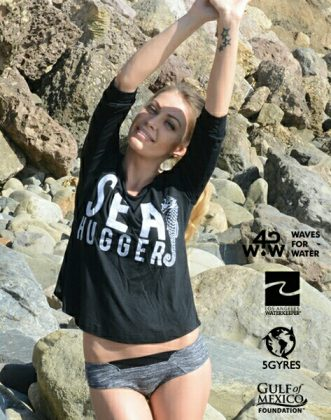 sexy ad for Consurfation clothing from recycled plastic water bottles