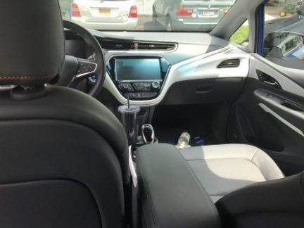 Chevy Bolt all electric Car view from back seat