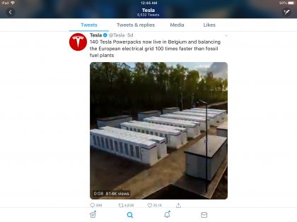 Tesla tweet of power packs in Belgium